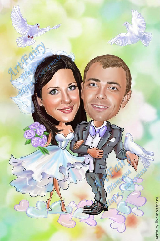 Cartoon pictures plot. 21h30 cm. Digital painting. The cartoon is made to print on wedding invitations. The cartoon is drawn by hand, completely from scratch in a special graphics program. On SEL