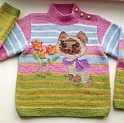 """Работы для детей, ручной работы. Ярмарка Мастеров - ручная работа Джемпер для девочки """"Кошачья радость-1"""". Handmade."""