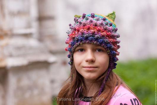 Шапки и шарфы ручной работы. Ярмарка Мастеров - ручная работа. Купить Шапка с ушами. Handmade. Комбинированный, 55% шерсть