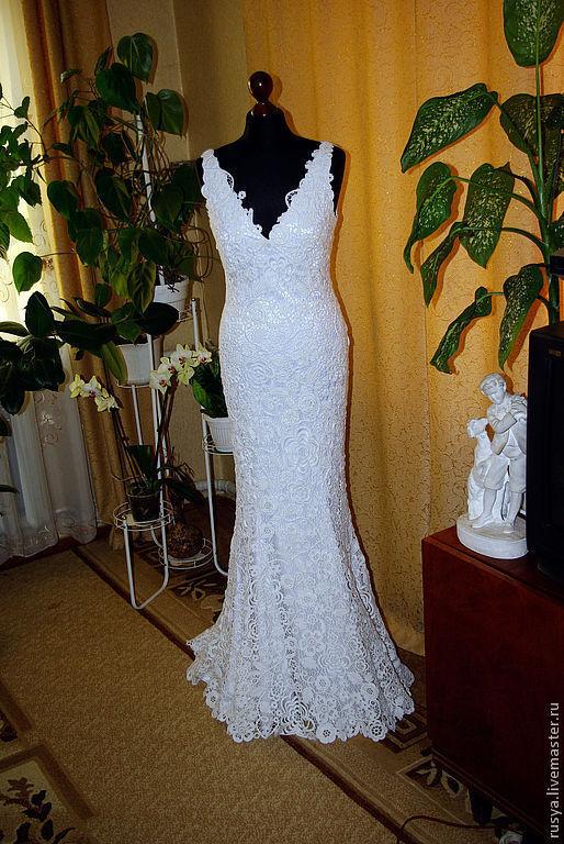 Платья ручной работы. Ярмарка Мастеров - ручная работа. Купить Свадебное платье, ирландское кружево. Handmade. Авторское платье