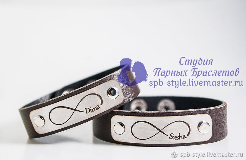 Парные браслеты для влюбленных с гравировкой, Браслет из бусин, Санкт-Петербург,  Фото №1