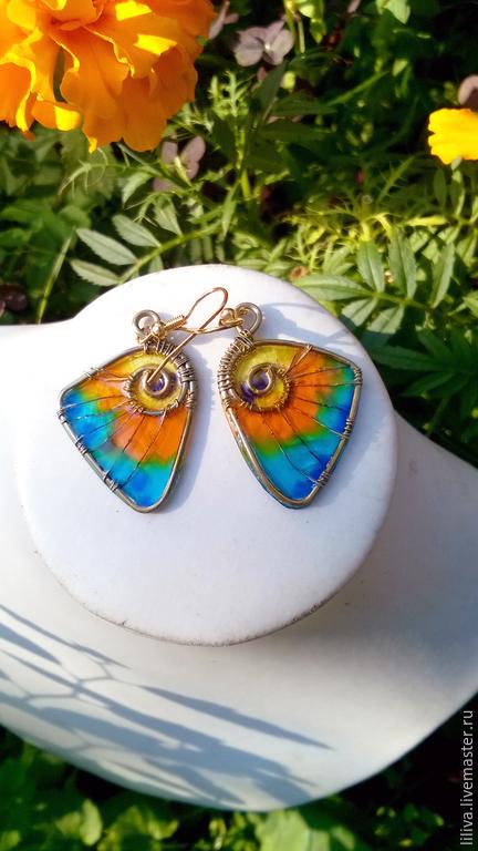 """Серьги ручной работы. Ярмарка Мастеров - ручная работа. Купить Серьги """"Крылья бабочки-1"""", латунь, пластик. Handmade. Разноцветный"""