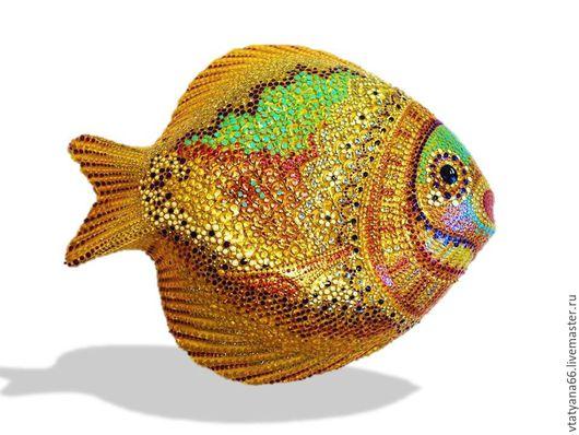 Животные ручной работы. Ярмарка Мастеров - ручная работа. Купить Тарелка декоративная Золотая рыба. Handmade. Рыба золотая