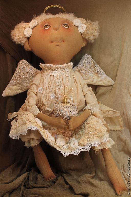 Коллекционные куклы ручной работы. Ярмарка Мастеров - ручная работа. Купить Ангел Рождественский. Handmade. Бежевый, интерьерная кукла, кружева