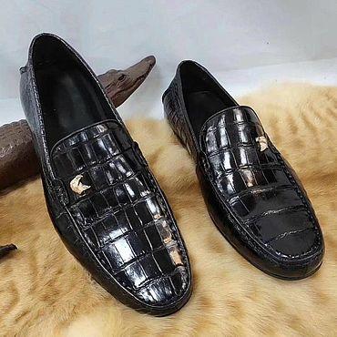 Обувь ручной работы. Ярмарка Мастеров - ручная работа Мужские мокасины, из кожи крокодила, цвет чёрный.. Handmade.