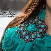 Украшения handmade. Livemaster - original item Buckle and scarf. Bead embroidery. Handmade.