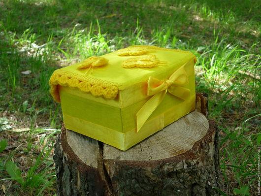 Для новорожденных, ручной работы. Ярмарка Мастеров - ручная работа. Купить Пинетки в желтой подарочной упаковке. Handmade. Цветочный, пинетки
