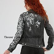 Одежда handmade. Livemaster - original item Denim jacket gray with hand painted and embroidered with pearls. Handmade.