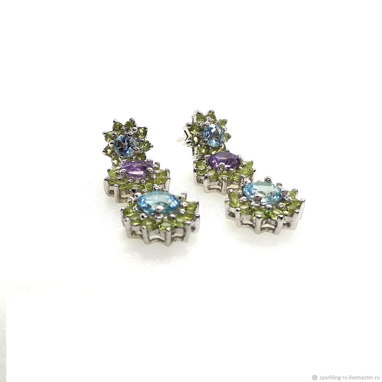 Silver earrings with Topaz, Earrings, Moscow,  Фото №1