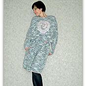 Одежда ручной работы. Ярмарка Мастеров - ручная работа Вязаное теплое платье с декором. Handmade.