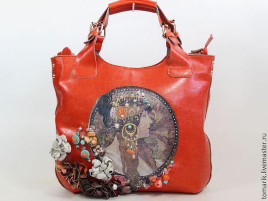 Женские сумки ручной работы. Ярмарка Мастеров - ручная работа. Купить сумка БРЮНЕТКА из натуральной кожи. Handmade. Коралловый