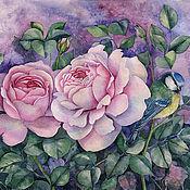 Картины и панно ручной работы. Ярмарка Мастеров - ручная работа Картина акварелью Две розовые розы. Handmade.