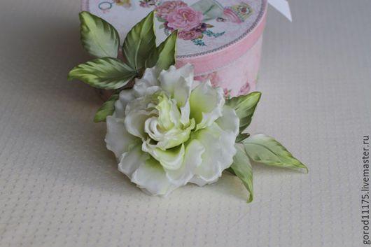 """Цветы ручной работы. Ярмарка Мастеров - ручная работа. Купить Шелковая брошь - роза """" Белый мастер"""".. Handmade."""