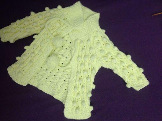Одежда для девочек, ручной работы. Ярмарка Мастеров - ручная работа. Купить Кардиган с шишечками на 1 год, хлопок. Handmade. Кардиган, новорожденный