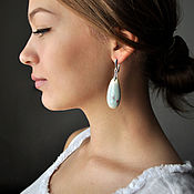 "Украшения handmade. Livemaster - original item Porcelain earrings ""Mint"", with colored inclusions. Handmade."