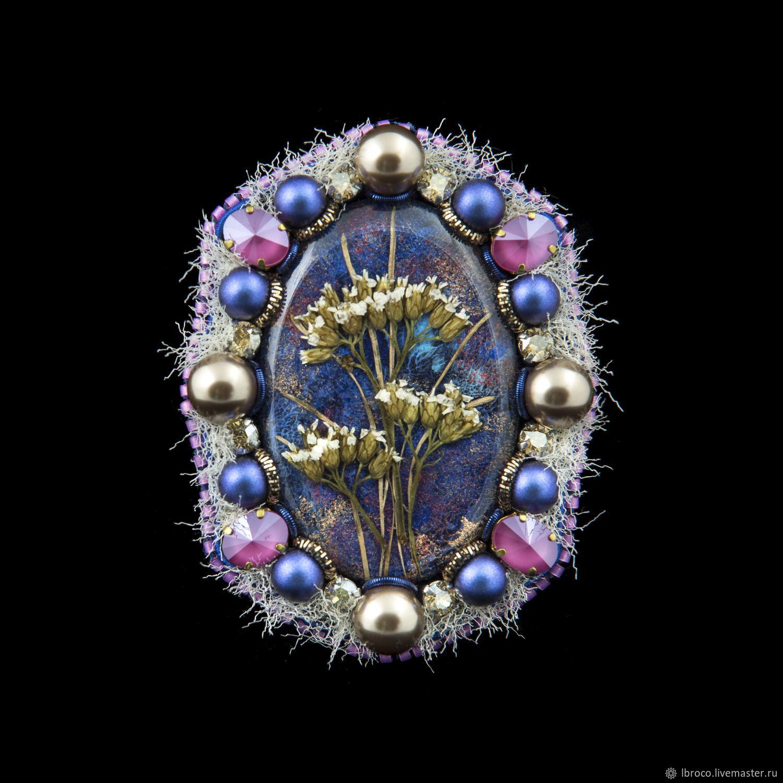 """Броши ручной работы. Ярмарка Мастеров - ручная работа. Купить Брошь """"Сухоцветы""""(брошь,синий,цветы,сухоцветы). Handmade. Винтаж, броши"""