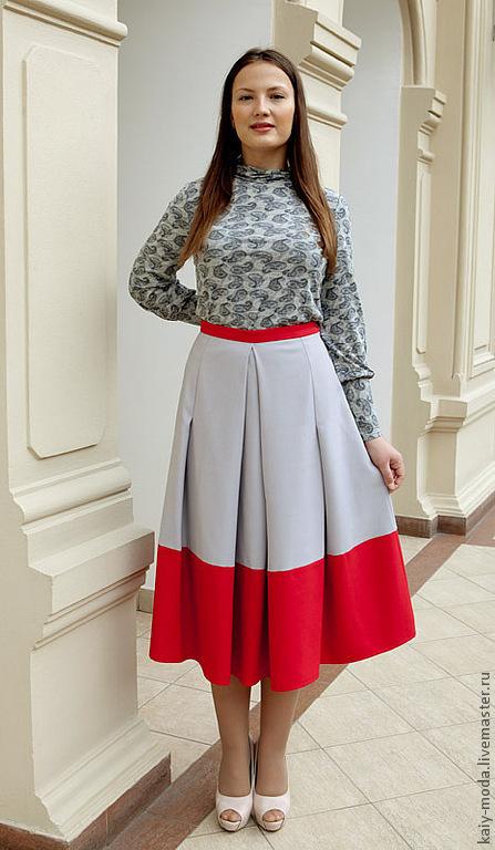 Юбки ручной работы. Ярмарка Мастеров - ручная работа. Купить Двухцветная юбка - серый, красный. Handmade. Серый, юбка на зиму