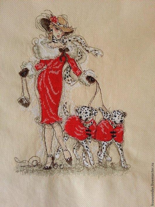 Люди, ручной работы. Ярмарка Мастеров - ручная работа. Купить дама с далматинами вышивка счетный крест. Handmade. Ярко-красный