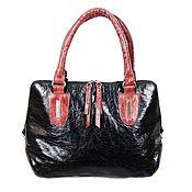 Сумки и аксессуары handmade. Livemaster - original item Stylish bag made of genuine black and burgundy leather. Handmade.