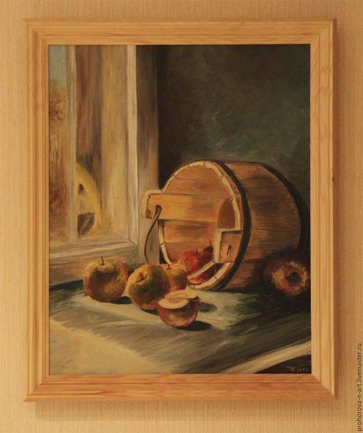 """Натюрморт ручной работы. Ярмарка Мастеров - ручная работа. Купить Картина маслом """"Яблочный спас"""". Handmade. Разноцветный"""