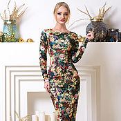 Одежда ручной работы. Ярмарка Мастеров - ручная работа Тёплое платье футляр с невероятной расцветкой). Handmade.