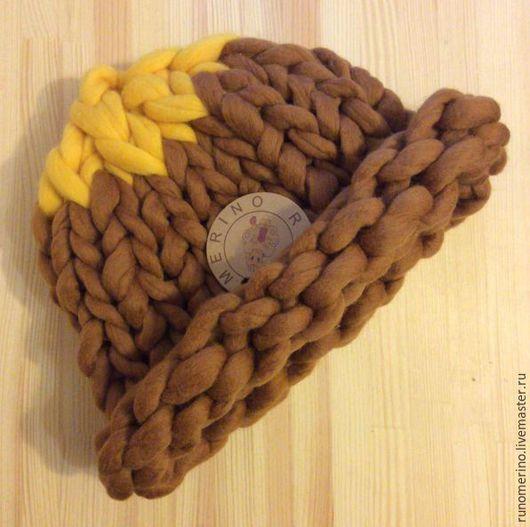 Шапки ручной работы. Ярмарка Мастеров - ручная работа. Купить Коричневая шапка с солнечной макушкой. Handmade. Коричневый, шапка