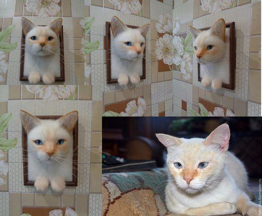 Животные ручной работы. Ярмарка Мастеров - ручная работа. Купить Портрет кота. Кот в рамке.. Handmade. Картина кот, белый