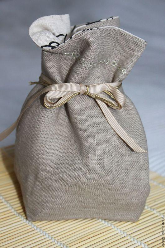 Кухня ручной работы. Ярмарка Мастеров - ручная работа. Купить Льняной мешочек. Handmade. Серый, мешочек для хранения, мешочек для украшений