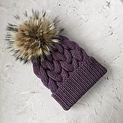 Аксессуары handmade. Livemaster - original item Women`s knitted hat with pompom. Handmade.