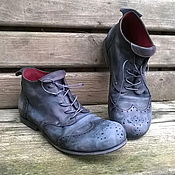 Обувь ручной работы. Ярмарка Мастеров - ручная работа Кожаные ботинки БРОГИ черные. Handmade.