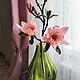 Интерьерные композиции ручной работы. Ярмарка Мастеров - ручная работа. Купить Магнолия в зеленой вазе. Handmade. Розовый, интерьер, букет
