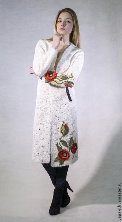 """Кофты и свитера ручной работы. Ярмарка Мастеров - ручная работа. Купить Кардиган """"Маки на белом"""". Handmade. Белый, кардиган ажурный"""