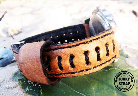 """Часы ручной работы. Ярмарка Мастеров - ручная работа. Купить Ремешок для часов из натуральной кожи """"Летний"""". Handmade. Оранжевый"""