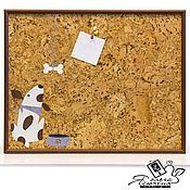 "Картины и панно handmade. Livemaster - original item Cork notes board ""Dog with a bone"". Handmade."