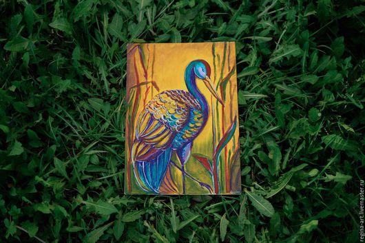 Животные ручной работы. Ярмарка Мастеров - ручная работа. Купить Райская птичка. Handmade. Оранжевый, картина акрилом, птица