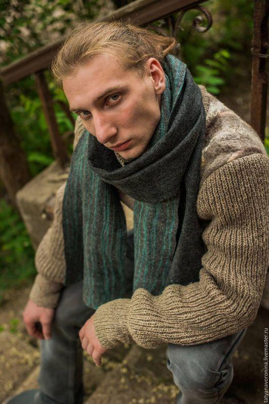 Шарфы и шарфики ручной работы. Ярмарка Мастеров - ручная работа. Купить Войлочный шарф мужской. Handmade. Темно-серый