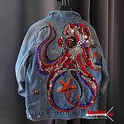 Одежда handmade. Livemaster - original item Jean jacket octopus. Handmade.