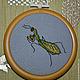 Животные ручной работы. Миниатюрная картина Богомол. Olessya. Интернет-магазин Ярмарка Мастеров. Картина, богомол, канва, пластик