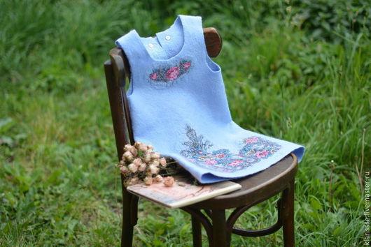 Сарафан для девочки, детское платье, голубое платье