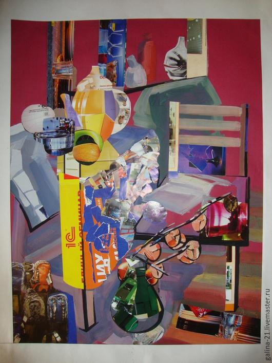 """Натюрморт ручной работы. Ярмарка Мастеров - ручная работа. Купить Интерьерная постановка """"За столом"""". Handmade. Картина, натюрморт, Аппликация"""