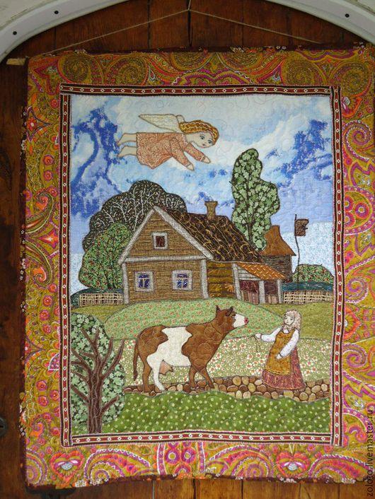"""Пейзаж ручной работы. Ярмарка Мастеров - ручная работа. Купить Панно """"  Домик в деревне"""". Handmade. Разноцветный, домик, ангел"""