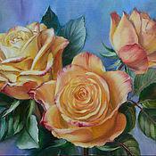 """Картины и панно ручной работы. Ярмарка Мастеров - ручная работа Авторская картина маслом """"Желтые розы"""". Handmade."""