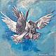 """Животные ручной работы. Ярмарка Мастеров - ручная работа. Купить """"Голуби"""".. Handmade. Голубой, птицы, картина в подарок, картина маслом"""