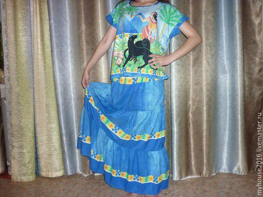 Юбки ручной работы. Ярмарка Мастеров - ручная работа. Купить Комплект Юбка и Блуза Черные Пантеры длинная ярусная синяя. Handmade.