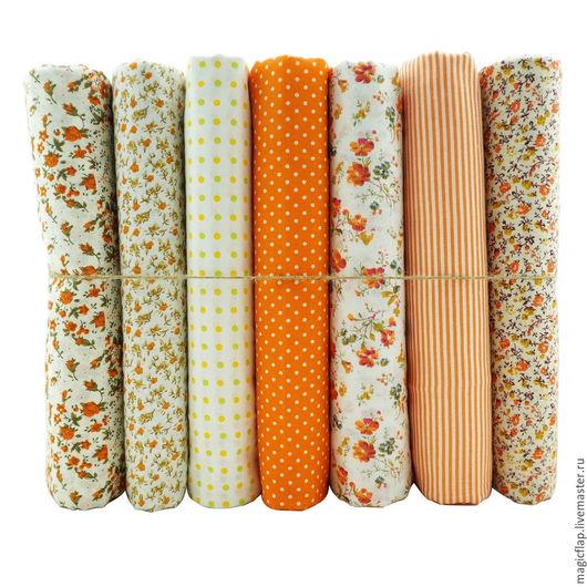 Шитье ручной работы. Ярмарка Мастеров - ручная работа. Купить Набор тканей хлопок Оранжевый цветочный. Для текстиля, пэчворка, кукол. Handmade.