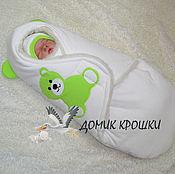 """Работы для детей, ручной работы. Ярмарка Мастеров - ручная работа Конверт-кокон для новорожденного """"Мишка Молочный с Салатовым"""". Handmade."""