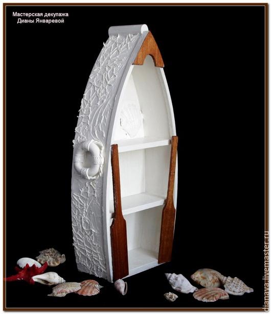 """Мебель ручной работы. Ярмарка Мастеров - ручная работа. Купить Полка- лодка """"Белое Море"""" декор, объем. Handmade. Лодка"""