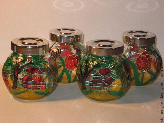 Баночки для специй\r\nРоспись витражными красками\r\nОтличный сувенир для кухни\r\nхудожник: Екатерина Макарова