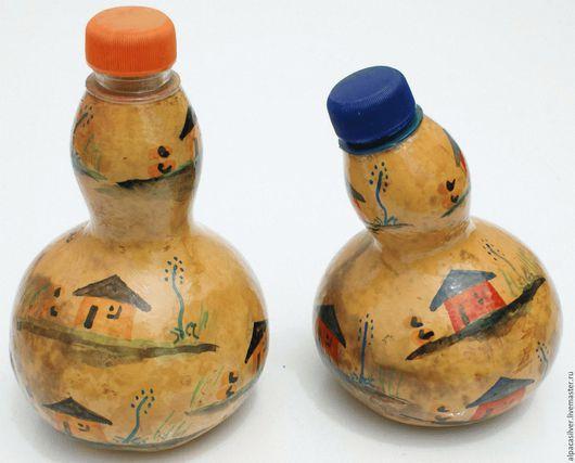 Декоративная посуда ручной работы. Ярмарка Мастеров - ручная работа. Купить Расписанная бутылка из тыквы. Handmade. Желтый, африка, тыква