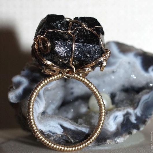 Кольца ручной работы. Ярмарка Мастеров - ручная работа. Купить Золотой перстень с кристаллом шерла. Handmade. Черный, украшения с шерлом